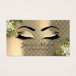 Gold Sepia Metallic Makeup Artist Lashes Floral Business Card