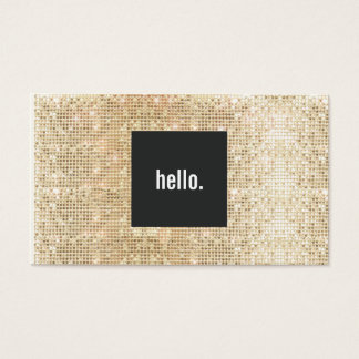 Gold Sequin Hello Greeting Social Networking Business Card