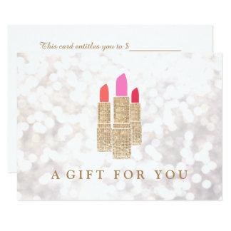 Gold Sequin Lipstick Beauty Salon Gift Certificate Card