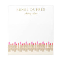 Gold Sequin Lipstick Makeup Artist Beauty Salon Notepad