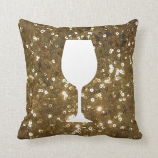 Gold sequin with wine glass silhouette throw pillow