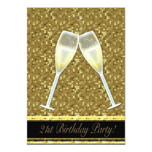 Gold Sequins 21st Birthday Party Invitations