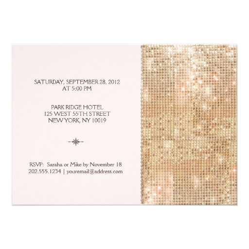 Gold Sequins 30th Birthday Blush Pink Invitations (back side)