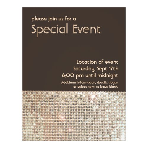 Gold Sequins 70's Retro Party Flyer flyer
