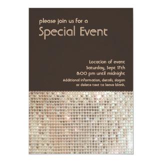 """Gold Sequins 70's Retro Party Invitation 5"""" X 7"""" Invitation Card"""