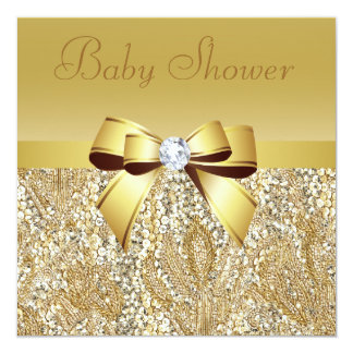 Gold Sequins, Bow & Diamond Baby Shower Card