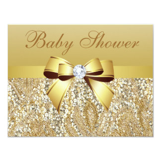 "Gold Sequins, Bow & Diamond Baby Shower 4.25"" X 5.5"" Invitation Card"