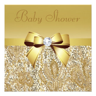 Gold Sequins Bow Diamond Baby Shower Custom Announcements