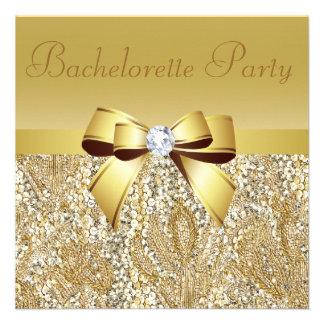 Gold Sequins, Bow & Diamond Bachelorette Party Custom Invitation