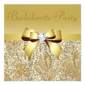 "Gold Sequins, Bow & Diamond Bachelorette Party 5.25"" Square Invitation Card"