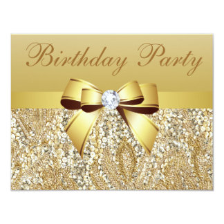 Gold Sequins, Bow & Diamond Birthday Party 4.25x5.5 Paper Invitation Card