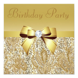 "Gold Sequins, Bow & Diamond Birthday Party 5.25"" Square Invitation Card"