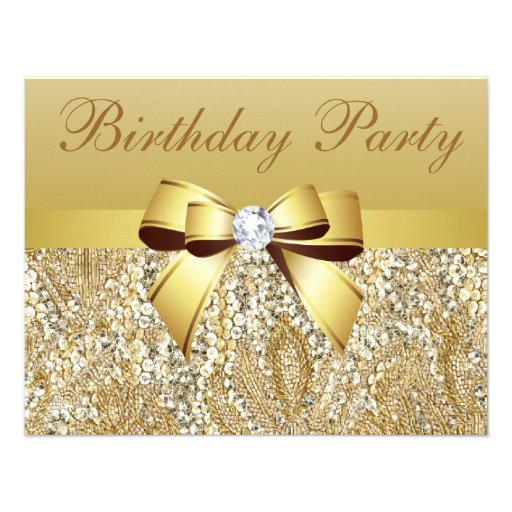 Gold Sequins, Bow & Diamond Birthday Party Announcements