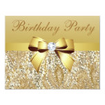 "Gold Sequins, Bow & Diamond Birthday Party 4.25"" X 5.5"" Invitation Card"