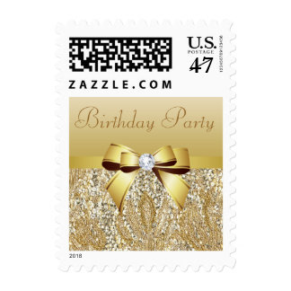 Gold Sequins, Bow & Diamond Birthday Party Postage