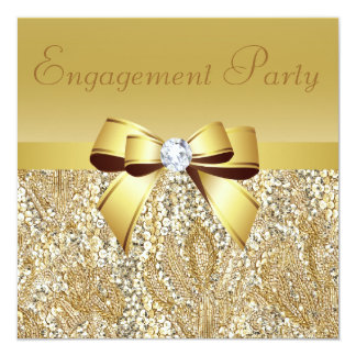 "Gold Sequins, Bow & Diamond Engagement Party 5.25"" Square Invitation Card"