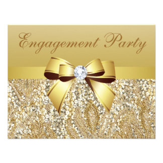Gold Sequins Bow Diamond Engagement Party Custom Invitation