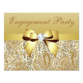 "Gold Sequins, Bow & Diamond Engagement Party 4.25"" X 5.5"" Invitation Card"