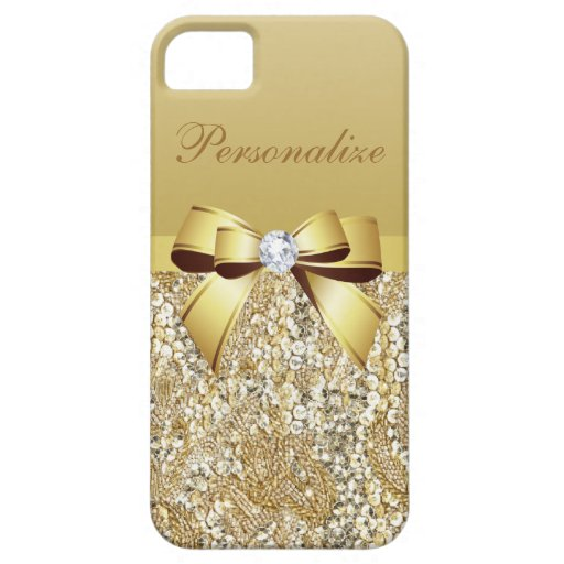 Gold Sequins, Bow & Diamond Personalized iPhone 5 Cover