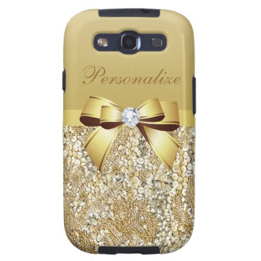 Gold Sequins, Bow & Diamond Personalized Samsung Galaxy SIII Cover