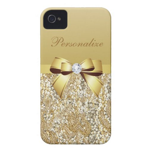 Gold Sequins, Bow & Diamond Personalized iPhone 4 Cases