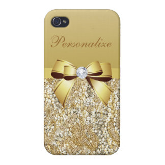 Gold Sequins, Bow & Diamond Personalized Case For iPhone 4