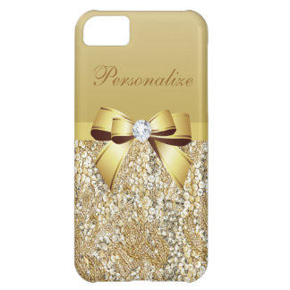 Gold Sequins, Bow & Diamond Personalized Case For iPhone 5C