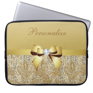 Gold Sequins, Bow & Diamond Personalized Computer Sleeve