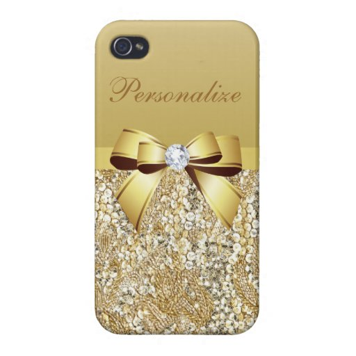 Gold Sequins, Bow & Diamond Personalized iPhone 4/4S Covers