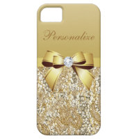 Gold Sequins, Bow & Diamond Personalized iPhone SE/5/5s Case