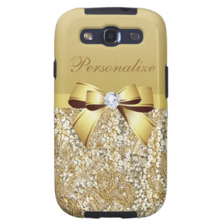 Gold Sequins, Bow & Diamond Personalized Samsung Galaxy S3 Cover