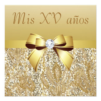 Gold Sequins, Bow & Diamond Quinceanera Custom Invitations