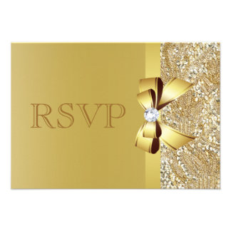 Gold Sequins Bow Diamond RSVP Personalized Invitation