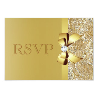 "Gold Sequins, Bow & Diamond RSVP 3.5"" X 5"" Invitation Card"
