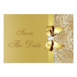 Gold Sequins, Bow & Diamond Save the Date Wedding Card