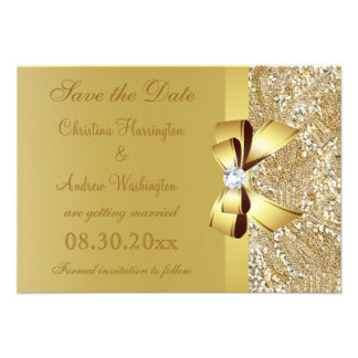 Gold Sequins, Bow & Diamond Save the Date Wedding Custom Announcements