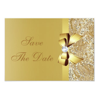 "Gold Sequins, Bow & Diamond Save the Date Wedding 3.5"" X 5"" Invitation Card"