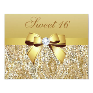 Gold Sequins, Bow & Diamond Sweet 16 4.25x5.5 Paper Invitation Card