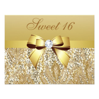 Gold Sequins Bow Diamond Sweet 16 Invitation