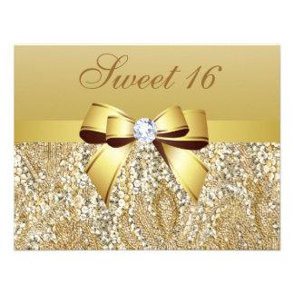 Gold Sequins Bow Diamond Sweet 16 Invitation