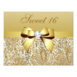"Gold Sequins, Bow & Diamond Sweet 16 4.25"" X 5.5"" Invitation Card"