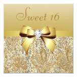 "Gold Sequins, Bow & Diamond Sweet 16 5.25"" Square Invitation Card"