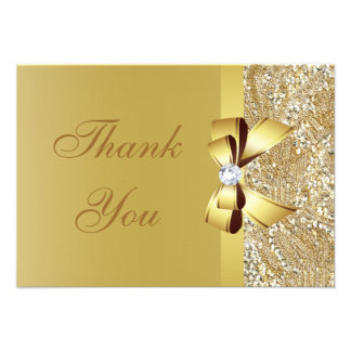 Gold Sequins, Bow & Diamond Thank You Wedding Custom Invitations