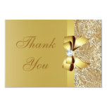 Gold Sequins, Bow & Diamond Thank You Wedding Custom Invitations