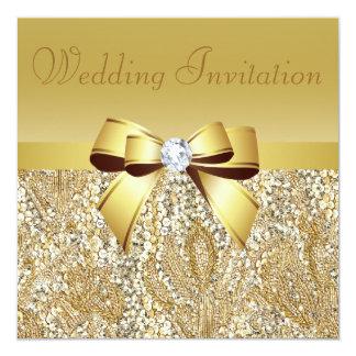 "Gold Sequins, Bow & Diamond Wedding Invitation 5.25"" Square Invitation Card"