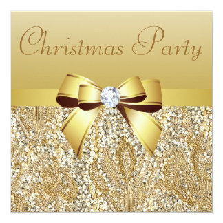 Gold Sequins, Christmas Party Printed Bow Diamond Card