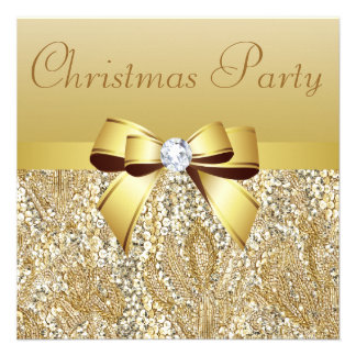 Gold Sequins, Christmas Party Printed Bow Diamond Custom Invite
