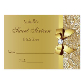 Gold Sequins Diamond Bow Sweet 16 Seating Cards