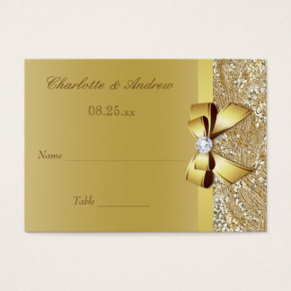 Gold Sequins Diamond Bow Wedding Seating Cards