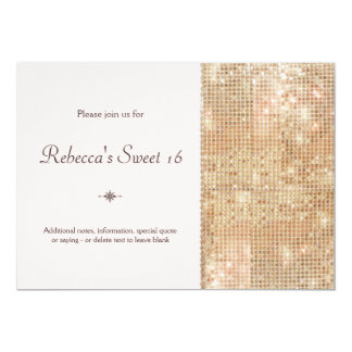 Gold Sequins Sweet 16 Blush Pink Personalized Announcements